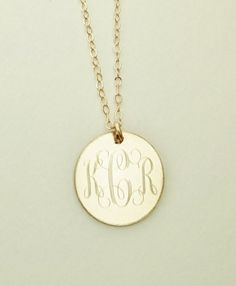 14ky gold triple initial monogrammed pendant necklace engraved charm monogram necklace gold filled mothers day or bridesmaids present women girls on etsy aloadofball Images