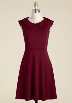 Foxtail & Fern A-Line Dress in Merlot | Mod Retro Vintage Dresses | ModCloth.com  Named after one of our favorite fashion bloggers, this burgundy dress will add vintage-inspired style to any ensemble. Cut in a classic A-line silhouette, this knit frock features an exposed, golden back zipper, a Peter Pan-collared neckline, figure-flattering seam detailing, and a hue you can only find at ModCloth.