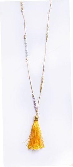 Long Gold Tassel Necklace with Amethyst Citrin by AnaberJewelry