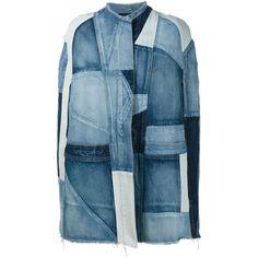 Saint Laurent Denim Patchwork Cape (2,405 BAM) ❤ liked on Polyvore featuring outerwear, vintage cape coat, blue cape, yves saint laurent, cape coat and blue cape coat