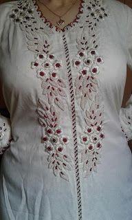 قفيطين أبيض بالراندة مع الطرز الرباطي من تصميم الأخت Rahma Aatmani Kurti Patterns Salwar Kameez Designs Blouse Designs