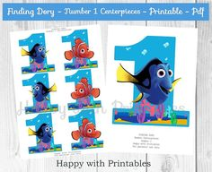 Finding Dory Number 1 Centerpieces Dory por HappywithPrintables