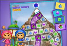 Kids can match shapes and count spaces in this fun {free} printable board game featuring Team Umizoomi!
