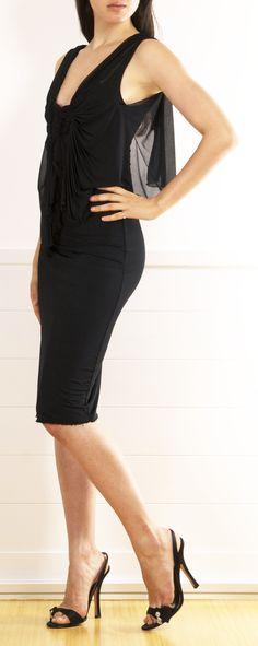 Gucci Black Tank Dress with Chiffon Overlay