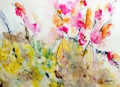 Original art for sale at UGallery.com | Summer Pink by Karin Johannesson | $450 | watercolor painting | 18 h x 23 w | http://www.ugallery.com/watercolor-painting-summer-pink
