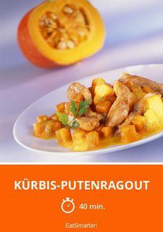 Kürbis-Putenragout - smarter - Zeit: 40 Min. | eatsmarter.de Eat Smarter Low Carb, Clean Eating, Healthy Eating, Eating Plans, Pumpkin Recipes, Eating Habits, Easy Healthy Recipes, Meals, Cooking