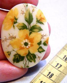 Cabochon  1 Rare Vintage Yellow Wild Roses by bansheehouseofmake, $5.00