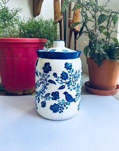 Excited to share the latest addition to my #etsy shop: blue paint white ceramic #art #blue #white