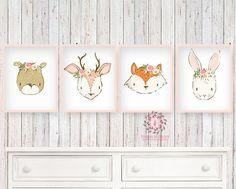 4 Deer Bear Bunny Rabbit Fox Wall Art Print Woodland Boho Bohemian Floral Nursery Baby Girl Room Set Lot Prints Printable Decor