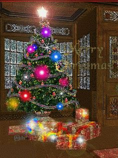 Image result for gif for sharing animated christmas gifts beneath the tree on christmas morning