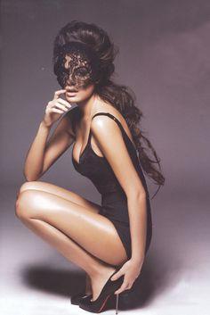 lace mask + Louboutins