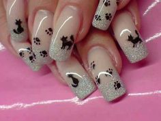 Imagen de nails, cat, and nail art Colorful Nail Designs, Cool Nail Designs, Acrylic Nail Designs, Acrylic Nails, Cat Nail Art, Animal Nail Art, Cat Nails, Halloween Nail Designs, Halloween Nails
