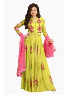 a10814db4ea Beautify your look wearing this lemon green and pink thread embroidered  georgette floor length Anarkali suit set