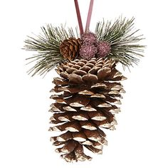 Buy John Lewis Midwinter Large Pine Cone With Berries, Gold Online at johnlewis.com