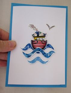 The Sea card paper cut 3D Boat by AshaPearse on Etsy, £3.25