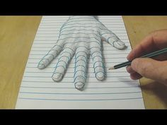 New Perspective - Drawing a Hand on Line Paper - Trick Art with Graphite Pencil - YouTube