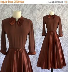 Vintage 1940s Cocktail Dress 40s 50s Brown by SassySisterVintage