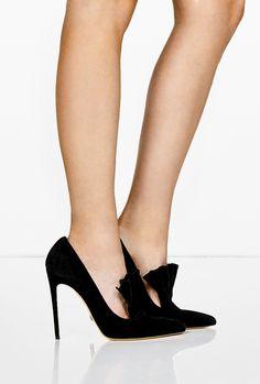 Black Suede Daphne Fan Stiletto Shoes by Bionda Castana
