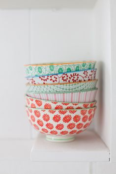 Crockery patterns from Leslie Shewring A Creative Mint. Bowls from Anthropologie Ice Cream Dishes, Cream Bowls, Dinner Bowls, Summer Dream, Spring Summer, Deco Design, My Dream Home, Home Accessories, Sweet Home