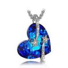 Mothers Day Gifts LadyColour Venus Swarovski Crystals Sapphire Necklace Heart Pendant Women Fashion Jewelry,Valentines Day Gifts Birthday Gifts Anniversary Gifts Christmas Gifts for Women Mom Grandma