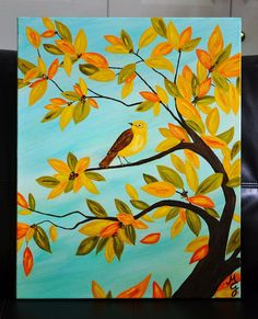 "FALL FANTASY, 16"" x 20"" Acrylic Painted Canvas w/ Swarovski Crystals, Whimsical Tree, Autumn Leaves, Bird, Decorative Art"