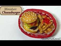 Miniature Cheeseburger & Fries basket - Polymer Clay Tutorial - YouTube
