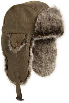 0cdee288409 Crown Cap Waxed Cotton Aviator Hat with Faux Fur Lining