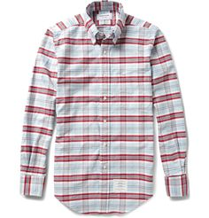 Thom Browne Button-Down Collar Check Cotton Oxford Shirt | MR PORTER