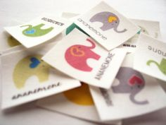 Iron On Labels - 75 1 square labels printed in color on 100% organic cotton, fabric labels personalized with elephants via Etsy