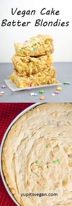 Vegan Cake Batter Blondies   yupitsvegan.com. Chewy on the inside, crispy on the edges, these vegan cake batter blondies are a quick and easy treat.