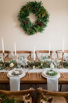 intimate holiday wedding inspiration with winter greenery from a garland table runner to festive wreaths spiked hot chocolate and cozy winter textures