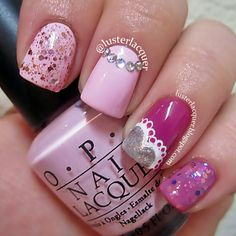 31 Beautiful nail designs for Day! Looking for ideas for Valentine's Day, but can not find impressive nail designs? See in the best ideas for your manicure! Get Nails, Fancy Nails, Love Nails, How To Do Nails, Pink Nails, Fabulous Nails, Perfect Nails, Gorgeous Nails, Pretty Nails
