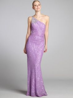 lilac silk sequin and jewel embellished one shoulder gown