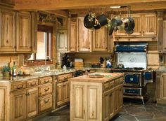 Rustic Pine Kitchen Cabinets for Log Homes ~ Log Kitchen Cabinets