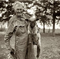 "Embraceable Ewe: May 1936. ""Farmer of Franklin County, Kansas."" Medium format nitrate negative by Arthur Rothstein for the Farm Security Administration."