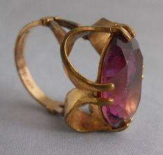 Vintage Vargas Faceted Oval Amethyst Cocktail Ring 10 Kt Gold Filled 6.5 Size