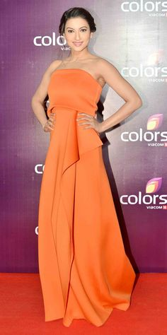 Gauahar (Gauhar) Khan on red carpet at Colors Party function. #Bollywood #Fashion #Style #Beauty