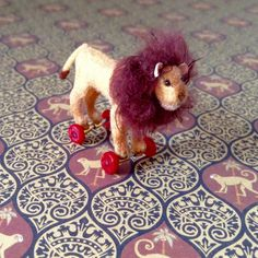 Miniature Plush Lion on Wheels Toy 1/12 Scale by Weazilla on Etsy
