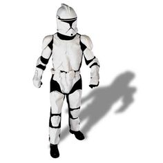 Star Wars Clone Trooper - Our Deluxe Adult Clone Trooper Costume includes a 2 piece mask, jumpsuit with molded body armor and matching gloves.  Officially licensed STAR WARS™ product!  **PLEASE NOTE:  The manufacturer has changed the style of the Clone Trooper mask. The package states that a PVC Mask is included, that is incorrect.  It is now a soft, flexible, two-piece, thin plastic helmet/mask. One-Size.
