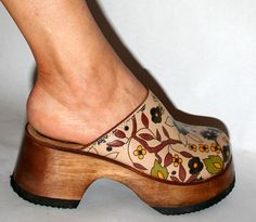 Vintage Candies Wood Clogs FLOWERED leather 6 PLATFORM Hippie Gypsy Boho SHOES  #Candies #PlatformsWedges