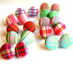 Plaid Fabric Covered Button Earrings - Set of