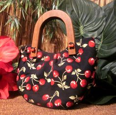 Red Cherry Rockabilly Pinup Handbag Purse with Wooden Handles and Cherry Button Detail