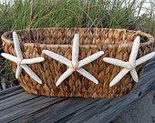 Beach Decor Starfish Seagrass Basket by PinkPelicanDesigns on Etsy Beach Room, Beach Condo, Beach House Decor, Hawaii Homes, Beach Cottages, Coastal Decor, Starfish, Shells, Interior Decorating