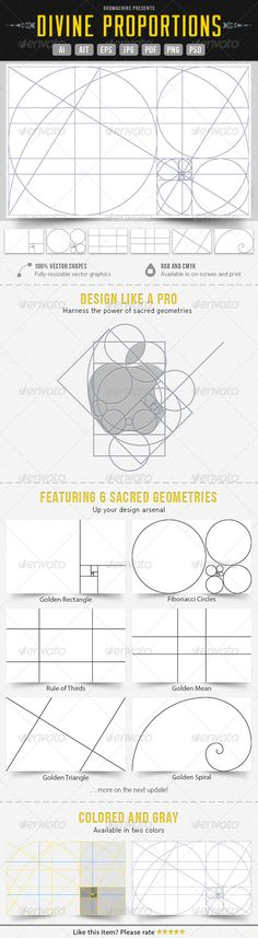 Divine Proportions: the six sacred geometries of graphic design, applicable to logos, graphics, websites, and more. (Inexpensive Adobe templates available for purchase. Graphisches Design, Tool Design, Design Process, Design Elements, Logo Process, Layout Print, Webdesign Layouts, Character Design Challenge, Divine Proportion