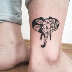 Floral elephant tattoo by Vlada Shevchenko