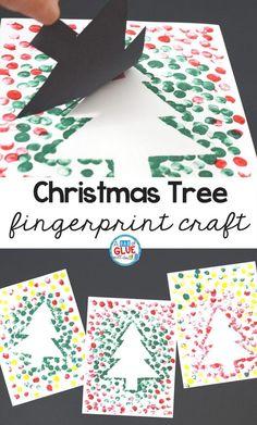 Christmas Tree Fingerprint craft. 10 fun and easy kids Christmas crafts.
