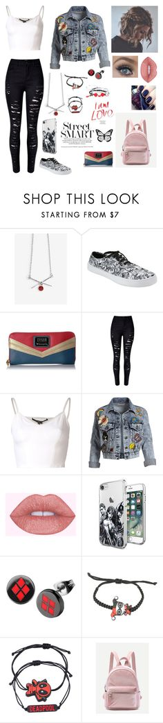 """""""Life is good, I can't complain."""" by kickinit4ever ❤ liked on Polyvore featuring Marvel, Hot Topic, Loungefly, WithChic, Theyskens' Theory, Alice + Olivia, Disturbia and Disney"""