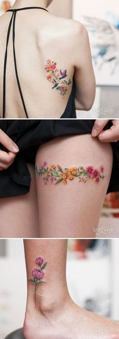Locations: shoulder blade colorful flower / floral tattoo