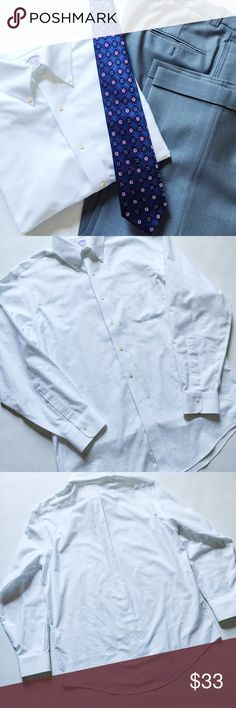 "Brooks Brothers No Iron Button Down Shirt Brooks Brothers No Iron Button Down Shirt in white featuring classic oxford style in crisp white.  Perfect for the office or any event!  Pre-loved but in excellent condition.  No holes, stains or tears.   Measurements laying flat: Armpit to armpit: 23.5"" Waist (across): 23"" Total length: 29""  Sleeve length: 25.5"" Brooks Brothers Shirts"