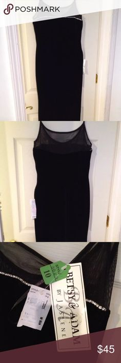 """Long black evening gown prom dress Beautiful Betsy and Adam by jaslene NWT size 10. 55"""" long velour type fabric. With 22"""" leg opening side slit. jaslene Dresses Maxi"""